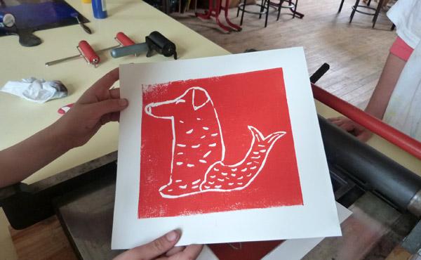 Guérande gravure sur linoléum aux ateliers culturels