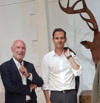 Inauguration de l'exposition Mauro Corda. Yves Métaireau maire de La Baule, Jean-Yves Gontier président de l'association d'intérêt général pour La Baule.