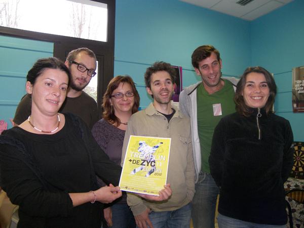 Les organisateurs du tremplin. De gauche à droite Marie Martineau, Damien Hascoët, Isabelle Gaillard, Antoine Louisse, Julien Gély, Gwenaëlle Schmit