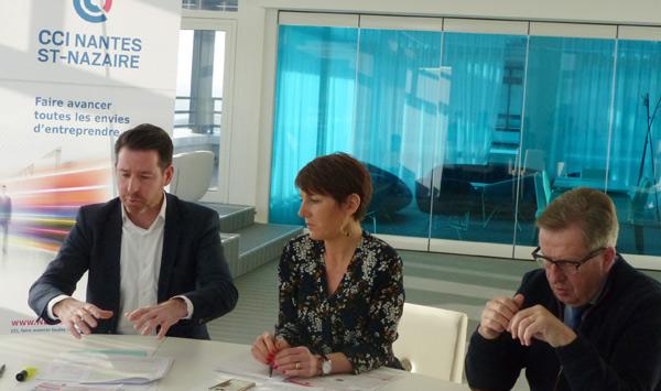 Hugues Frioux, Vice-président CCI Nantes St-Nazaire, en charge du commerce, Nathalie Deniau-Millon, Présidente de Plein Centre et Jean-Luc Cadio, élu CCI