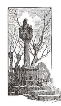 Le vieux calvaire des Forges- Dessin à la plume de Paul Bellaudeau