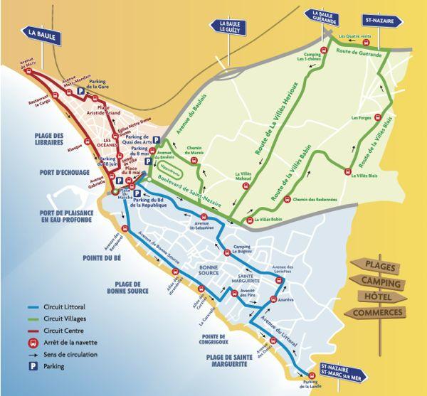 Plan de circulation des navettes gratuites à Pornichet en 2013