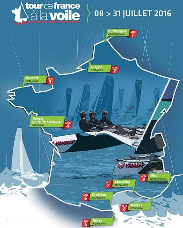 La carte du Tour de France à la voile