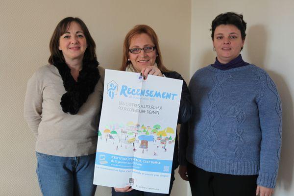 Alexandra Rocton, Sophie Antoine et Virginie Marinier agents recenseurs