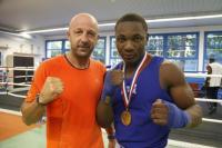 Christian M'Billi et sont entraîneur Stéphane Cazeaux