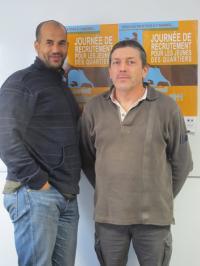 à gauche, Omar El Houmri chargé de mission et Gérard Bourguenolle secrétaire général de l'UL CFDT