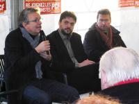 Pierre Laurent, Aymeric Seassau, secrétaire départemental du PCF et Yvon Renevot, secrétaire de la section du PCF de Saint-Nazaire.