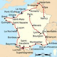 Le tracé du parcours du Tour 1962