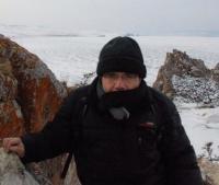 Bernard Grua sur le lac Baïkal gelé