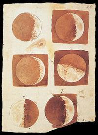 Phases de la lune dessinées par Galilée en 1616.
