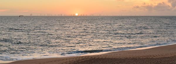 Photomontage aspect visuel parc éolien de la plage de Sainte-Marguerite