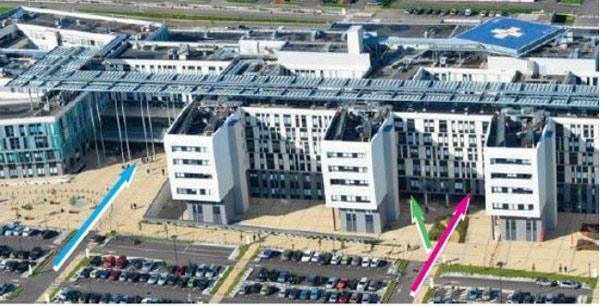 Cité Sanitaire En bleu : accès principal / En vert : Accès drive COVID / En rose : Entrée des urgences gynéco-obstétriques