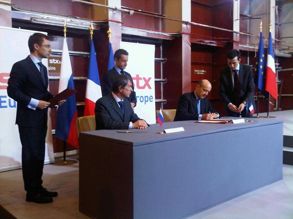 L'accord signé aujourd'hui par Alain Juppé, ministre de la Défense, et Igor Setchine, vice-premier ministre russe, porte sur la construction de deux BPC en France et deux en Russie.