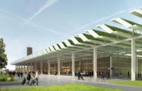 Vue du parvis de l'aérogare : toiture plissée engazonnée et façades vêtues de bois
