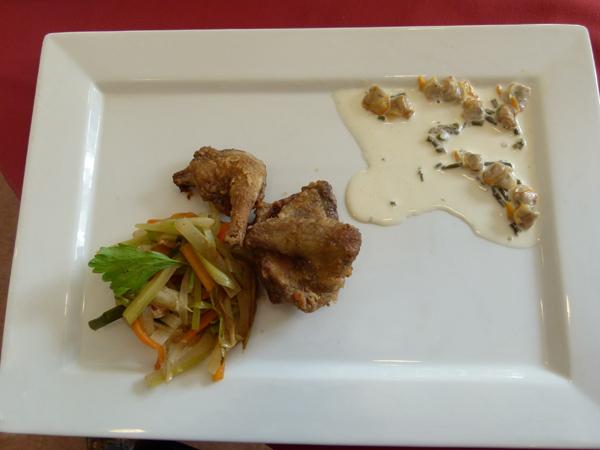 Pauline Mahé Pigeon sauce coques et salicornes, légumes de la Presqu'île