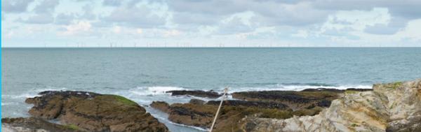 Parc éolien de Saint-Nazaire (simulation) vue de Pierre Plate Le Pouliguen