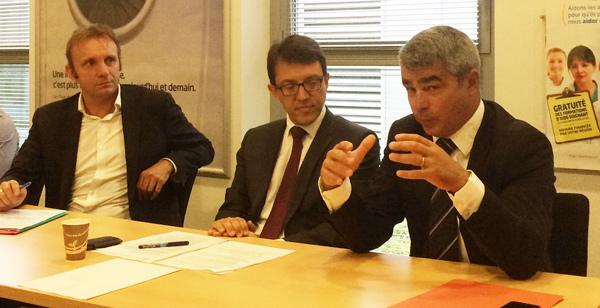 Jean-Philipe Magnen, Christophe Clergeau (Région) David Samzun (Carene) veulent coordonner leur action pour l'emploi