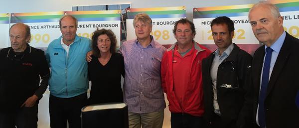 Les anciens vainqueurs de la route du Rhum Mike Birch, Marc Pajot, Florence Arthaud, Laurent Bourgnon, Lionel Lemonchois, Franck Camas