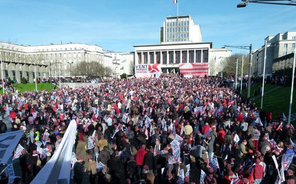 Brest Janvier 2016 manifestation pour Crédit Mutuel Arkéa