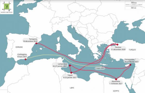 Le périple de l'Elbeiken Méditerranée, décembre 2020-mars 2021