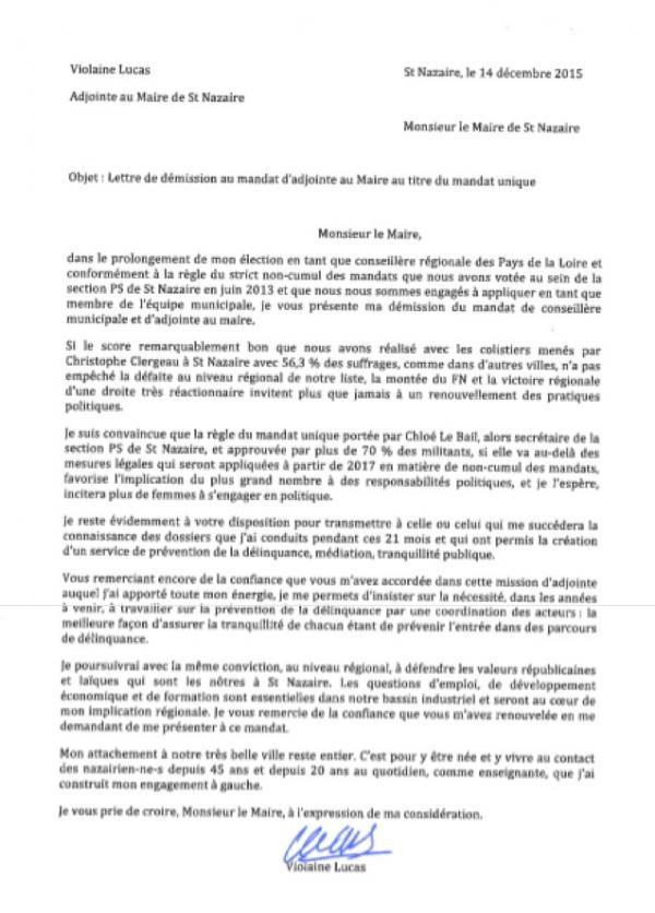 Courrier de démission de Violaine Lucas, du conseil municipal de Saint-Nazaire