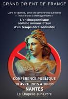 Conférence du Grand Orient de France sur  « L'antimaçonnisme comme annonciateur d'un temps déraisonnable »